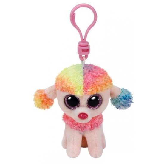 Hondje/Poedel Ty Beanie Rainbow sleutelhanger 12 cm