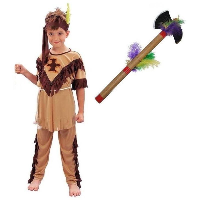 Indianen kostuum maat M met tomahawk voor kinderen Geen Geschiedenis kostuums