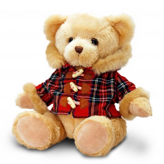 Keel Toys pluche beer knuffel met houthakkers jasje 25 cm