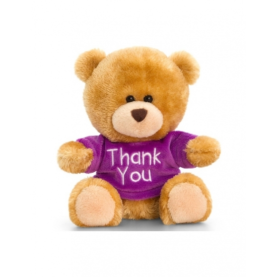 Keel Toys pluche beer knuffel Thank You met paars shirt 14 cm