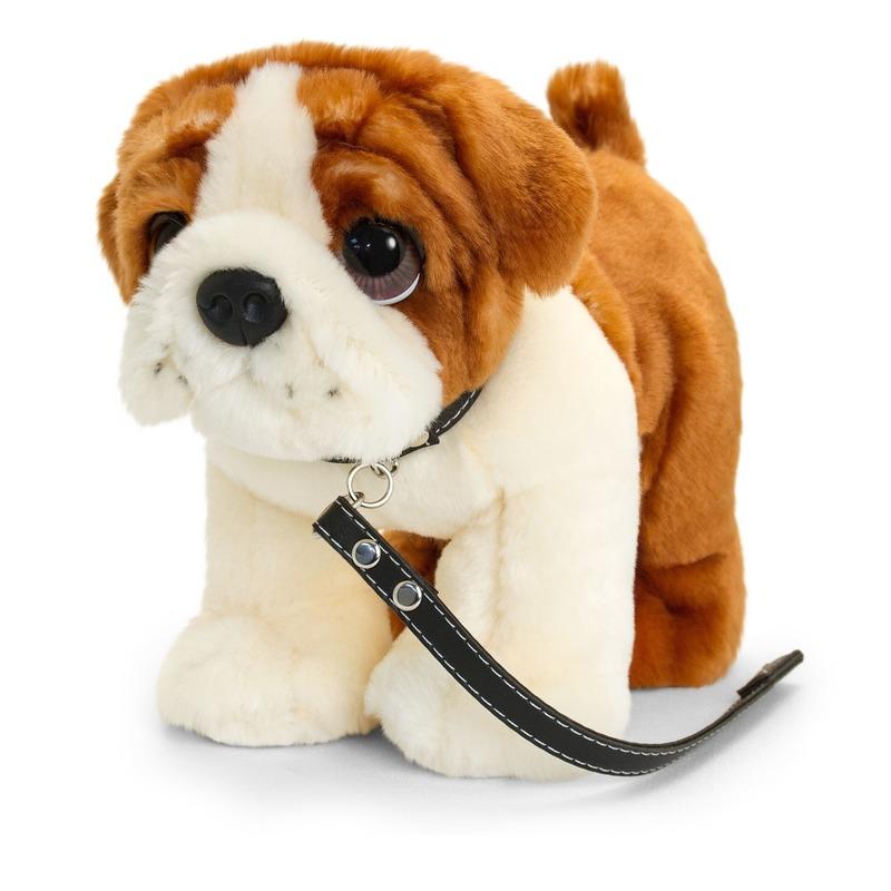 Keel Toys pluche bruin/witte Bulldog met riem knuffel 30cm