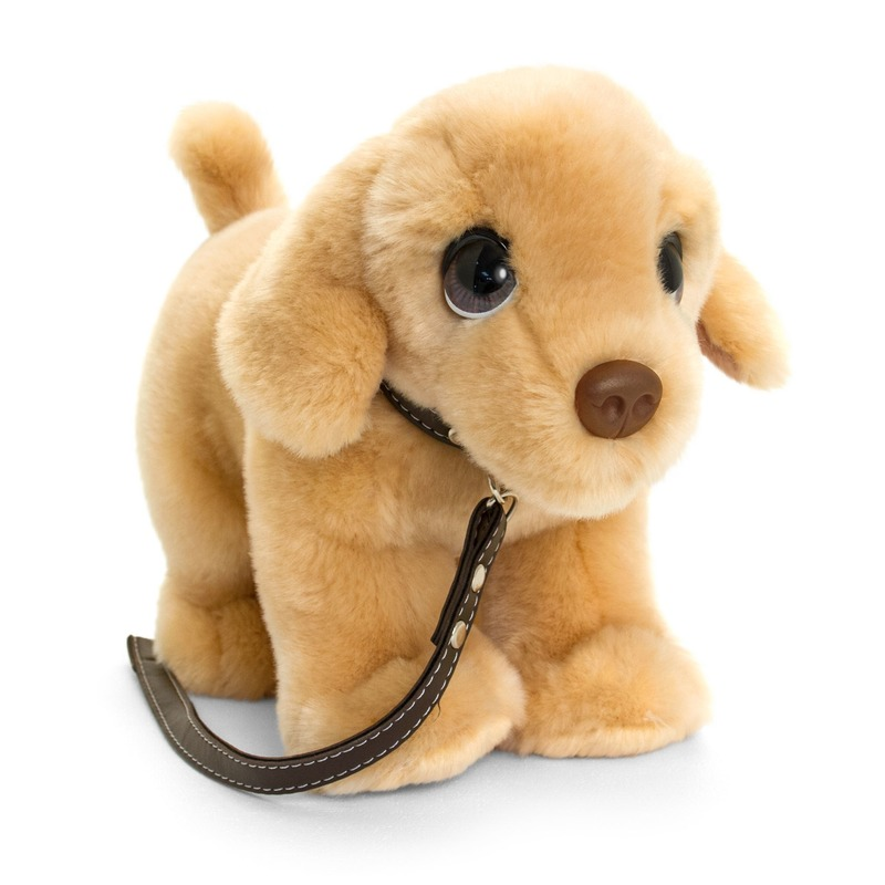 Keel Toys pluche bruine Labrador met riem honden knuffel 30 cm