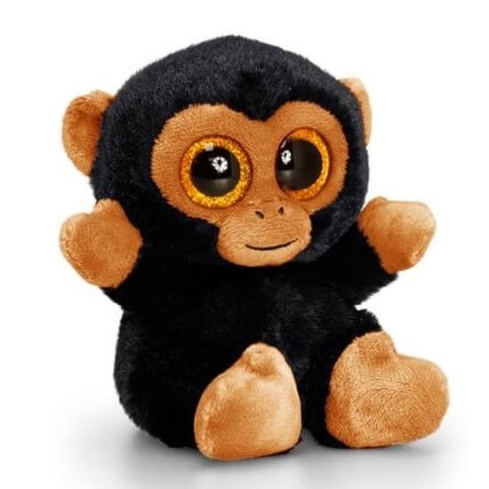 Keel Toys pluche chimpansee knuffel bruin/zwart 15 cm