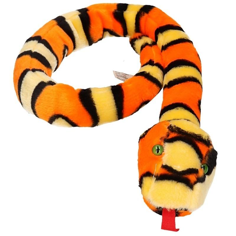Keel Toys pluche geel/oranje slang knuffel 100 cm