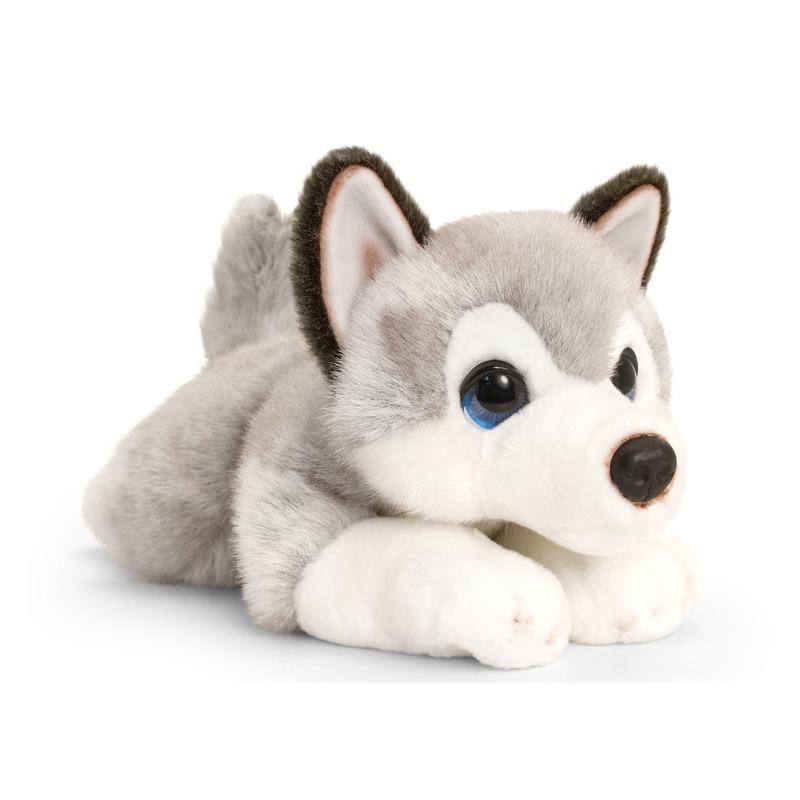 Keel Toys pluche grijs/witte Husky honden knuffel 37 cm