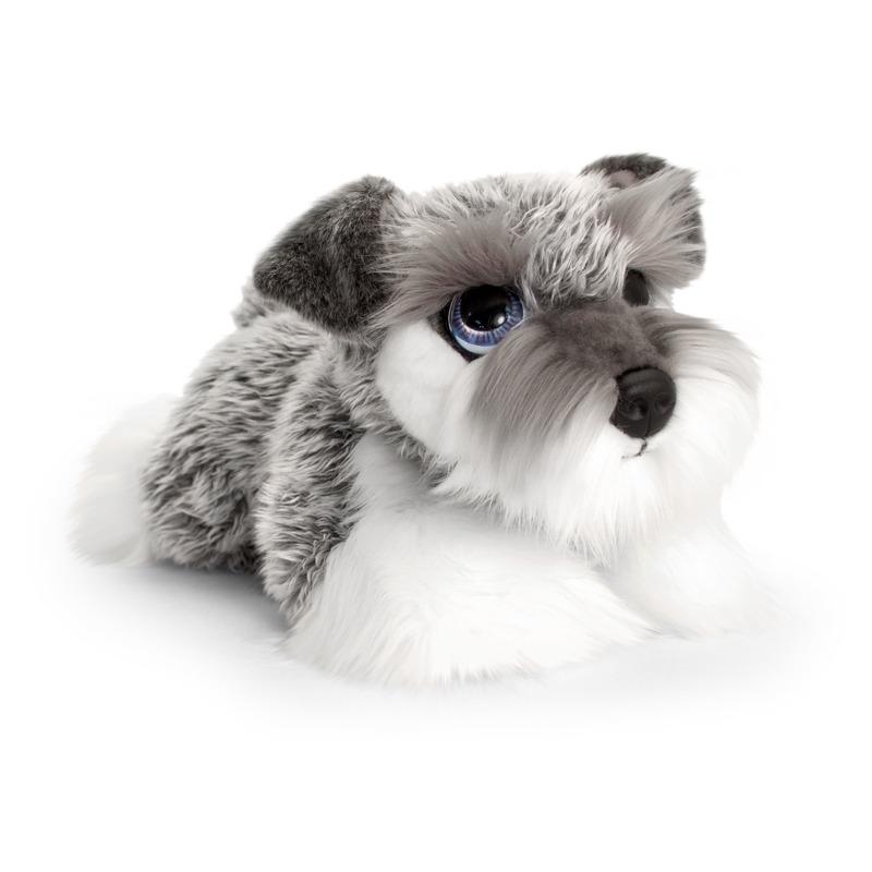 Keel Toys pluche grijs/witte Schnauzer honden knuffel 37 cm