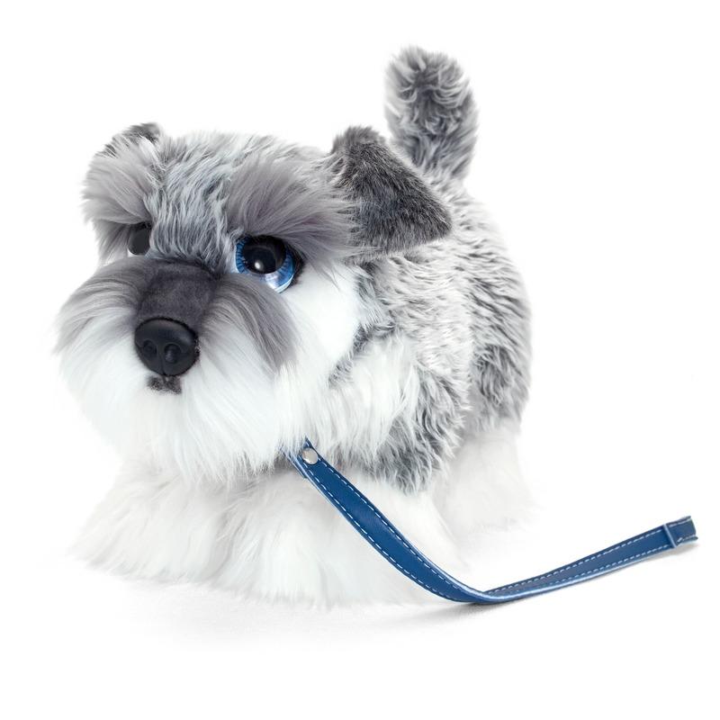 Keel Toys pluche grijs/witte Schnauzer met riem knuffel 30cm