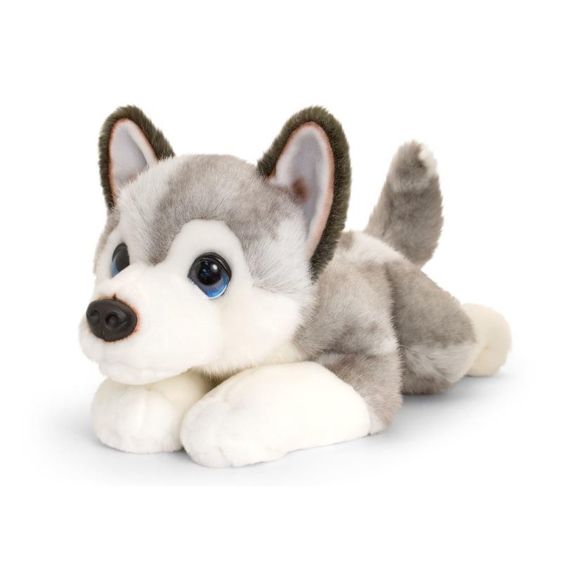 Keel Toys pluche grote grijs/witte Husky honden knuffel 47 cm