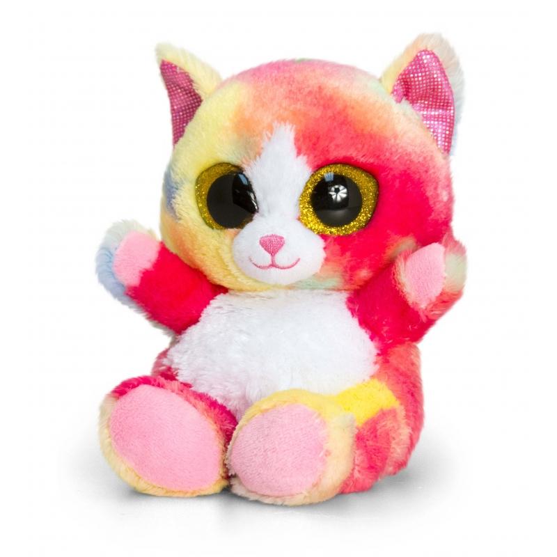 Keel Toys pluche kat/kitten knuffel gekleurd 15 cm