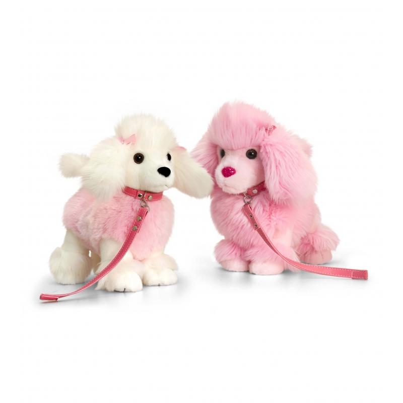 Keel Toys pluche poedel knuffel wit/roze 30 cm
