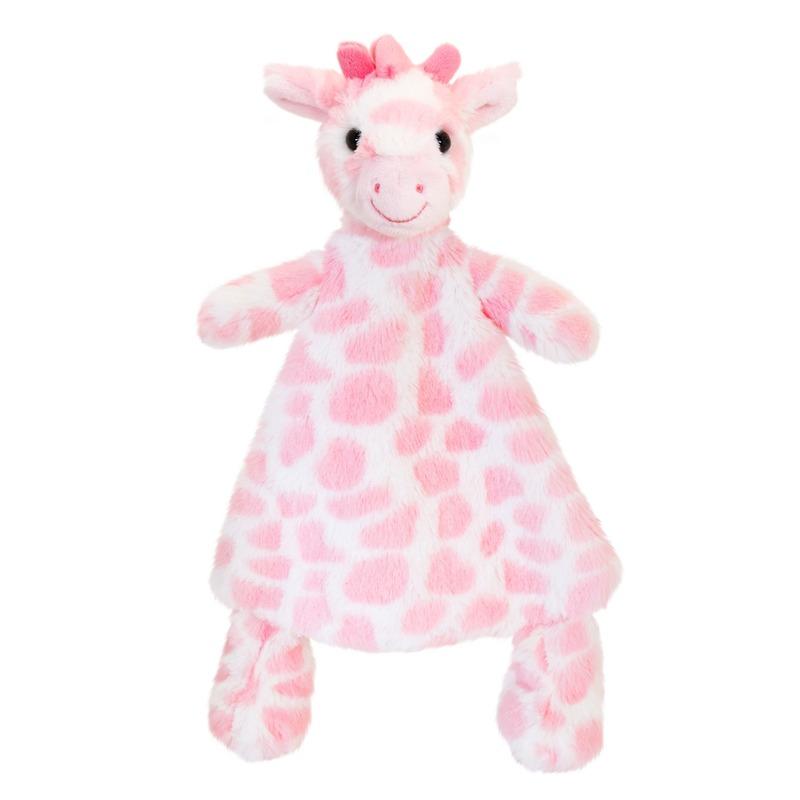 Keel Toys pluche tuttel roze giraffe knuffeldoekje 25 cm