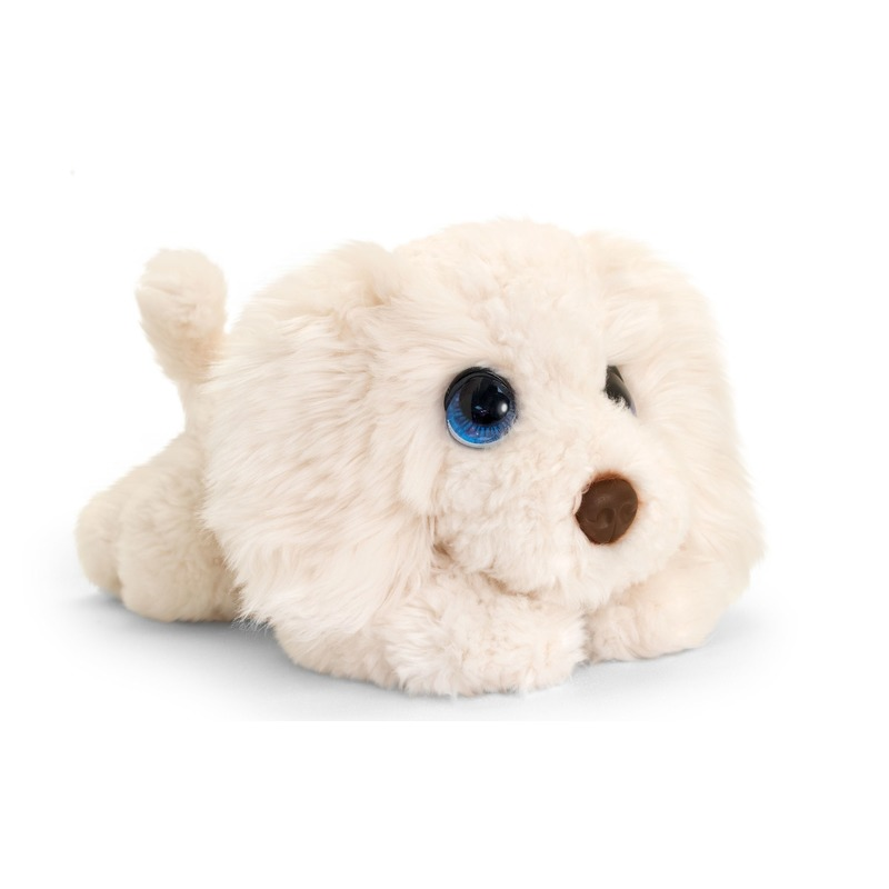Keel Toys pluche witte Labradoodle honden knuffel 37 cm