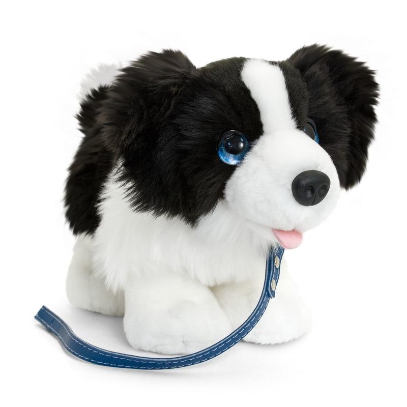Keel Toys pluche zwart/witte Border collie met riem knuffel 30cm