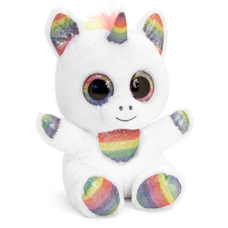 Keel Toys witte pluche Eenhoorn knuffel 25 cm met kraalogen