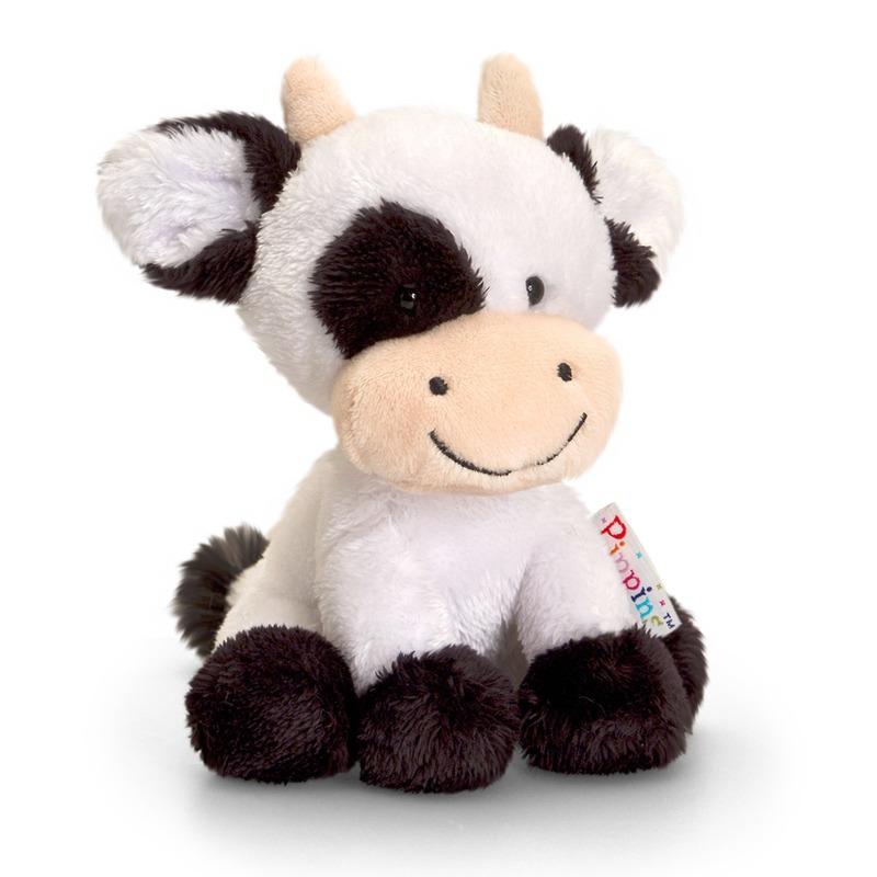 Keel Toys zwart/witte pluche koe/koeien knuffel 14 cm