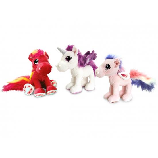 Kinder knuffel paard lichtroze 30 cm
