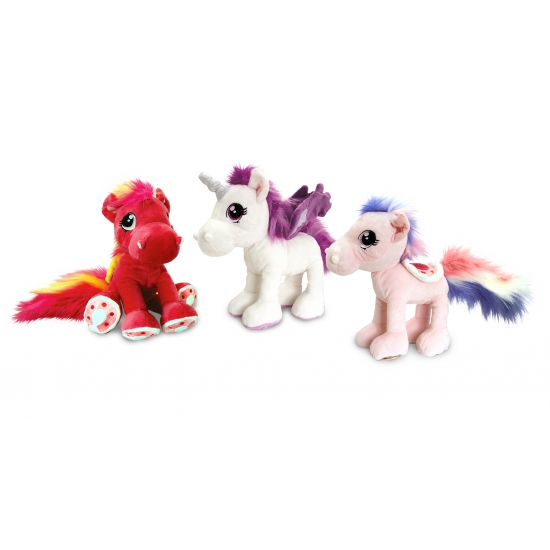 Kinder knuffel paard rood 30 cm