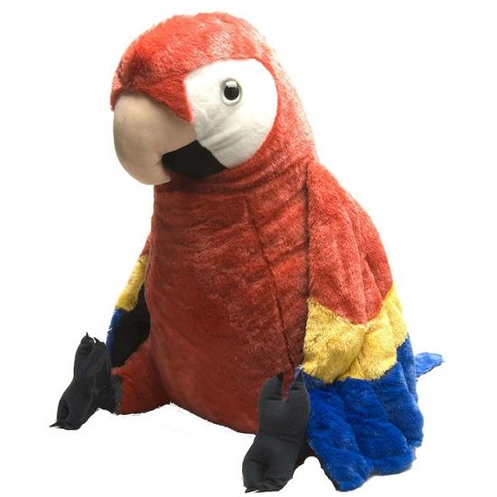 Kinder knuffel rode papegaai 76 cm