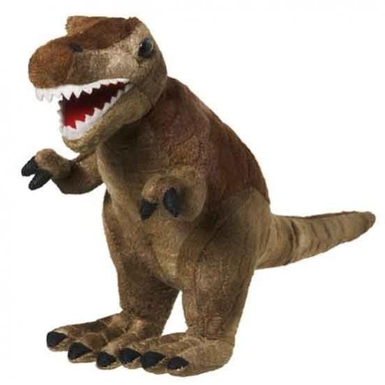 Kinder pluche knuffel bruine T-Rex dinosaurus