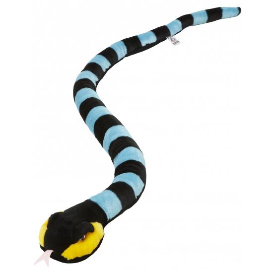 Kinder pluche knuffel slang zwart/blauw