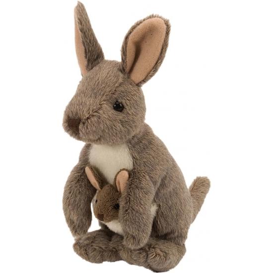 Knuffel kangoeroe met baby in de buidel 20 cm