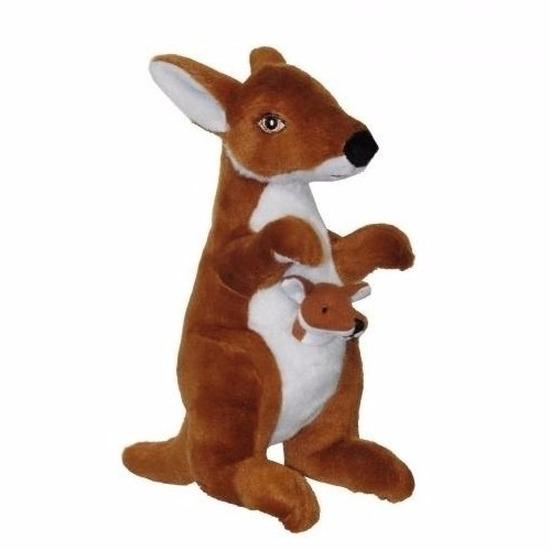 Knuffel kangoeroe met jong 28 cm