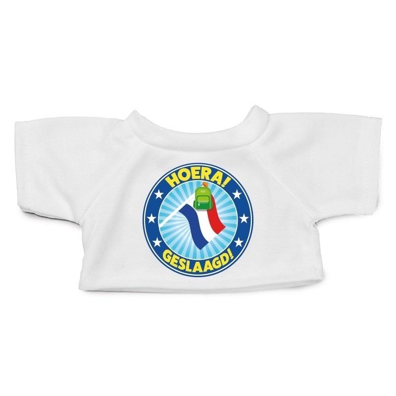 Knuffel kleding Geslaagd! met vlag shirt wit M voor Clothies