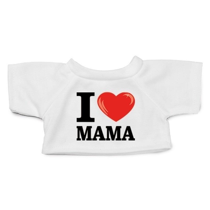 Knuffel kleding I love mama shirt wit XL voor Clothies knuffel
