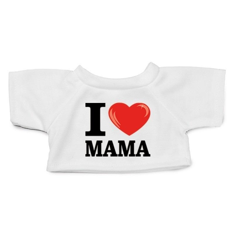 Knuffel kleding I love mama t-shirt wit M voor Clothies knuffel