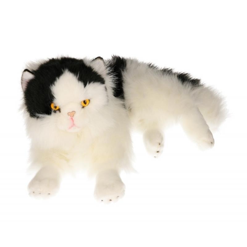 Knuffel liggende zwart/witte poes 35 cm