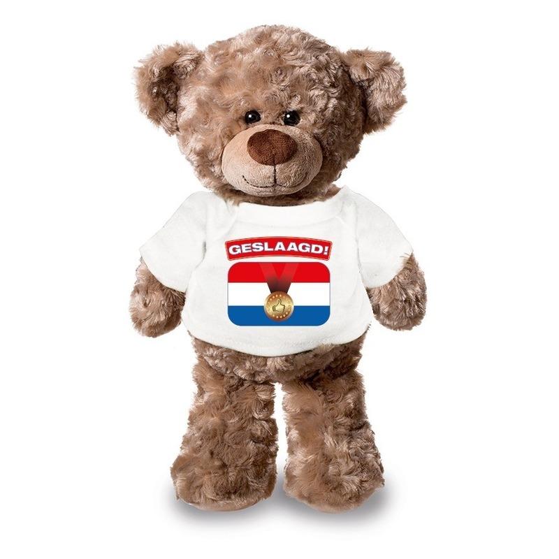 Knuffel teddybeer Geslaagd! wit shirt 24 cm