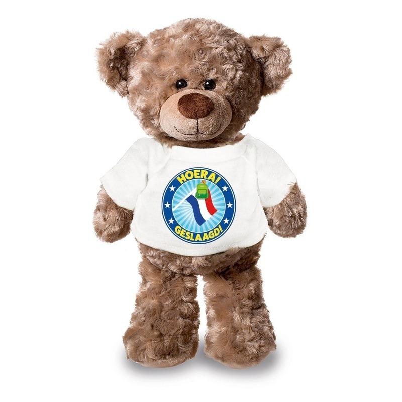 Knuffel teddybeer Hoera Geslaagd! met vlag wit shirt 24 cm