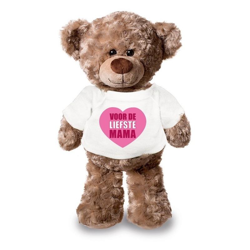 Knuffel teddybeer Liefste Mama wit shirt 24 cm