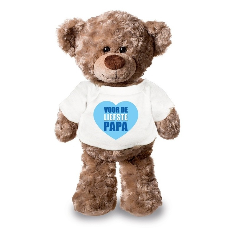 Knuffel teddybeer Liefste Papa wit shirt 24 cm