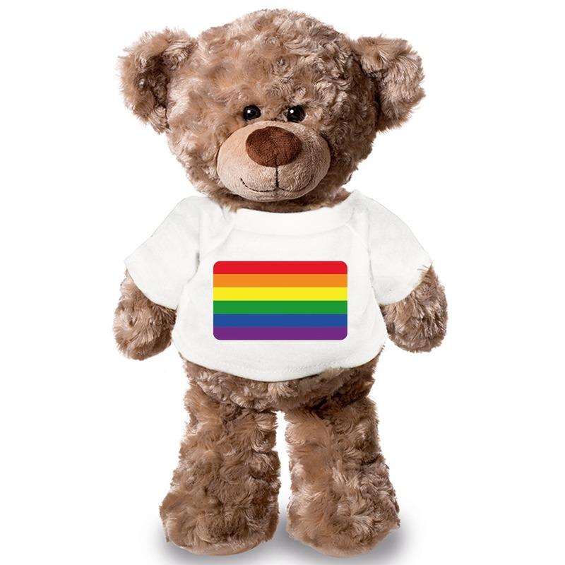 Knuffel teddybeer met Gaypride vlag t-shirt 43 cm