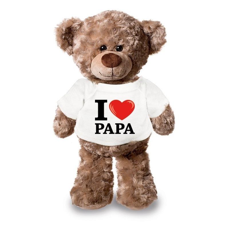 Knuffel teddybeer met I love papa shirt 24 cm