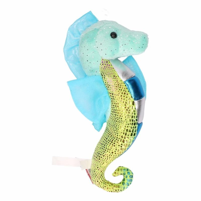 Knuffel zeepaardje glimmend aqua 25 cm