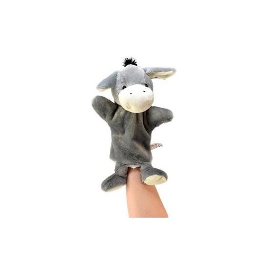 Knuffeldier pluche handpop ezel 21 cm