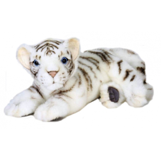 Levensechte witte tijger knuffel liggend 26 cm