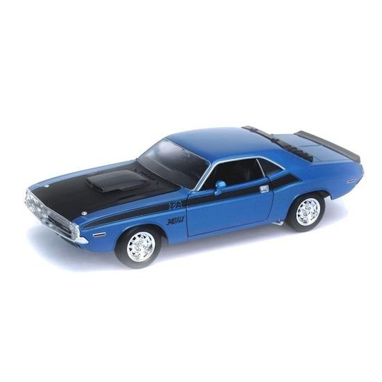 Modelauto Dodge Challenger 1970 blauw 1 34 Welly Speelgoedvoertuigen