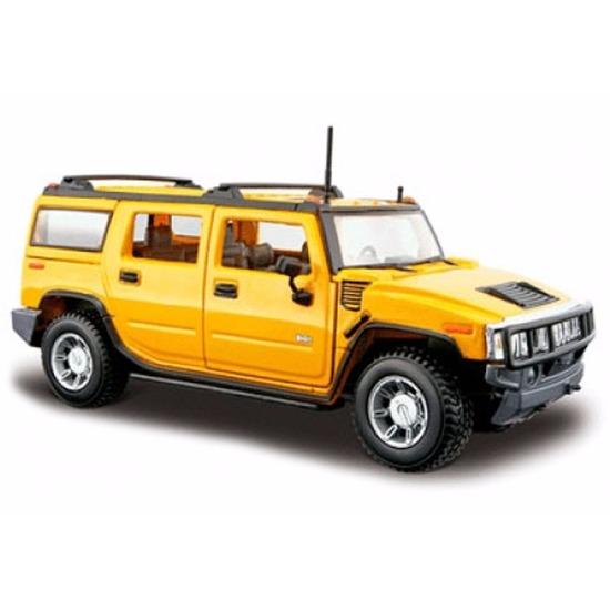 Speelgoedvoertuigen Maisto Modelauto Hummer H2 geel 1 24