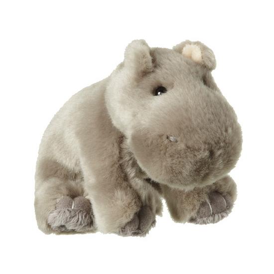 Nijlpaard knuffel met kraaloogjes 12 cm