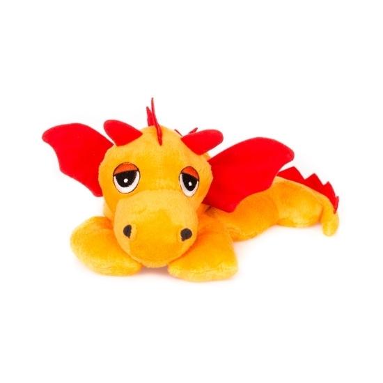 Oranje draken knuffel kruik geboorteknuffel 18 cm