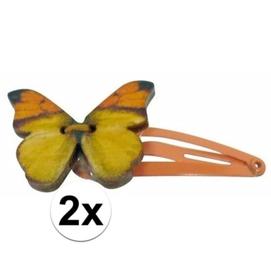 Kleding accessoires Geen Oranje haarspeldjes houten vlinder