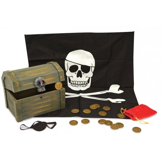 Piraten schatkist met vulling Geen Thema feestartikelen