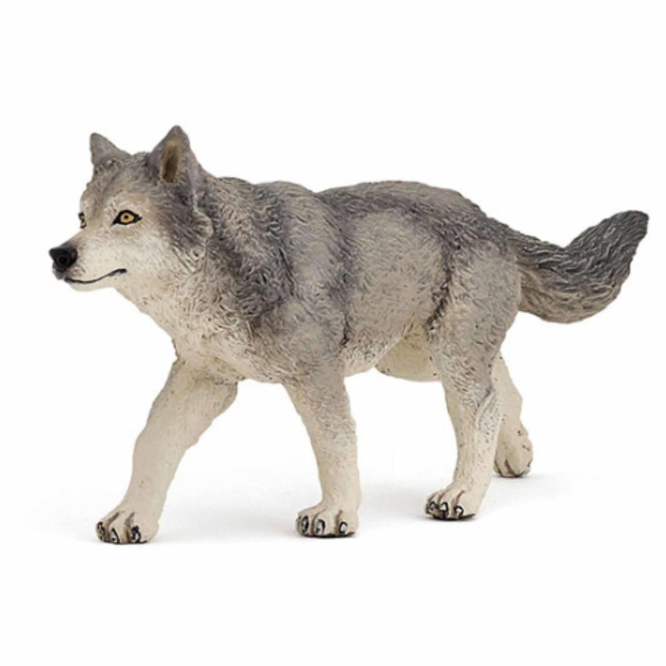 Plastic grijze wolf 12 cm Papo Speelfiguren sets