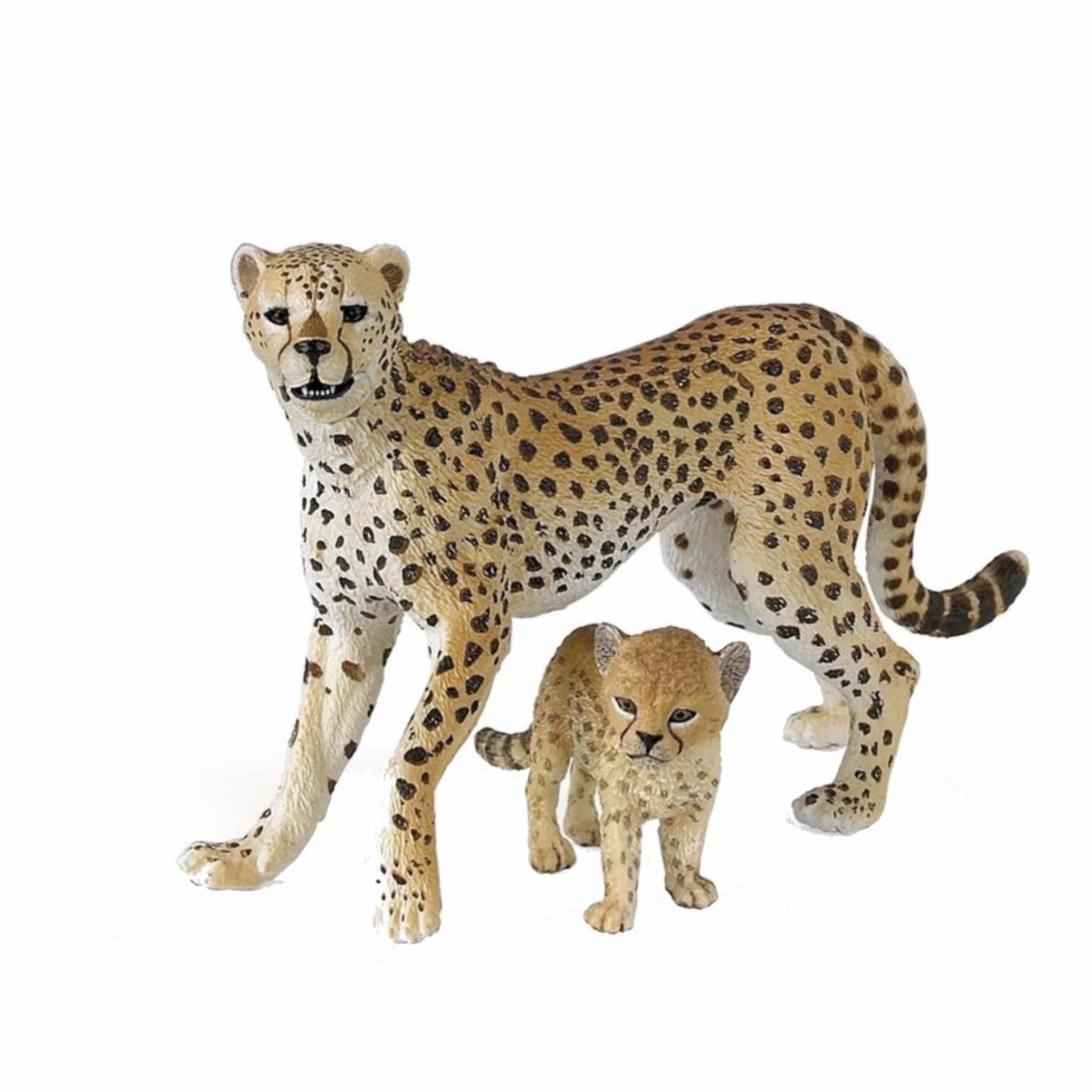 Speelfiguren sets Plastic jachtluipaard met welpje 10 cm