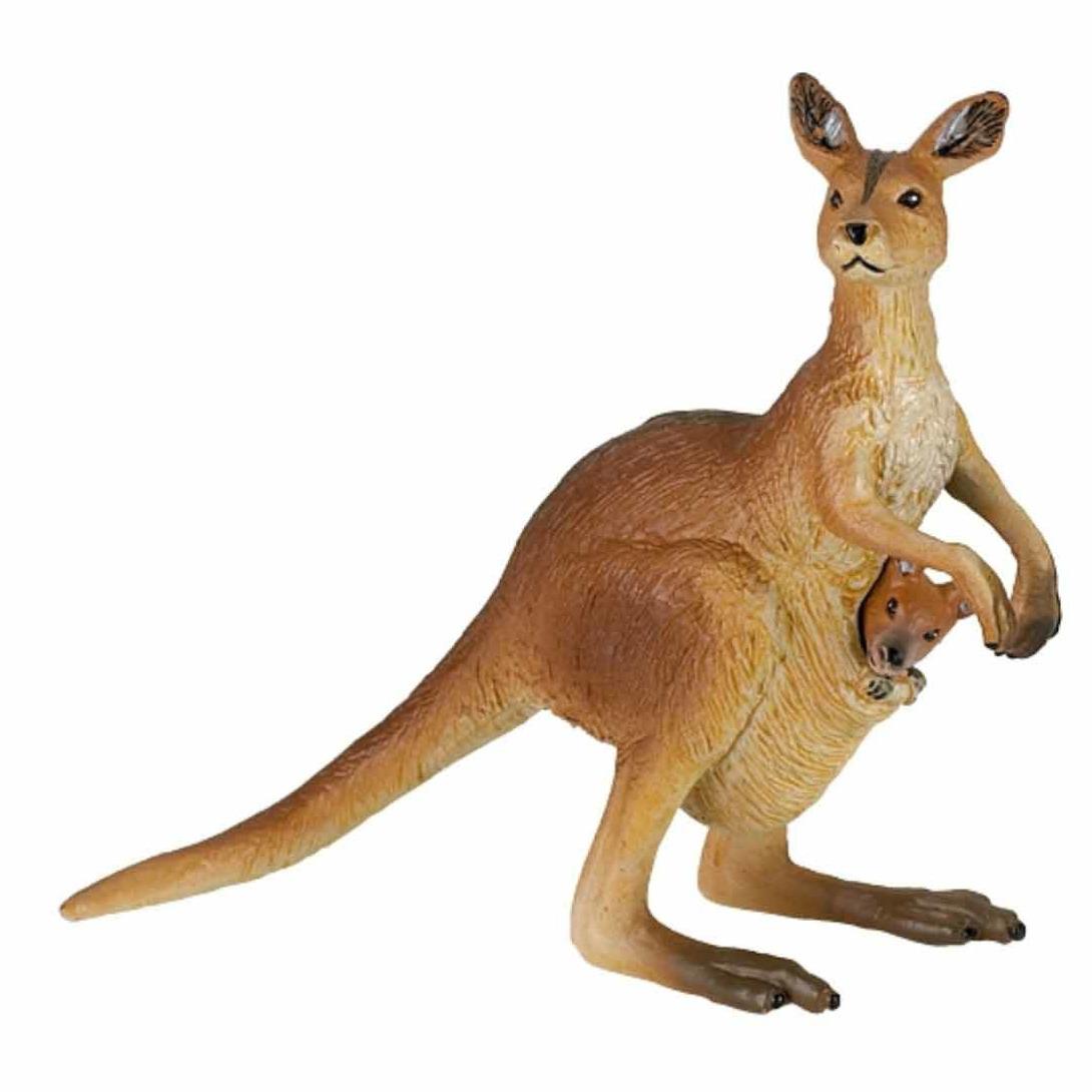 Speelfiguren sets Papo Plastic kangoeroe met baby 8 cm
