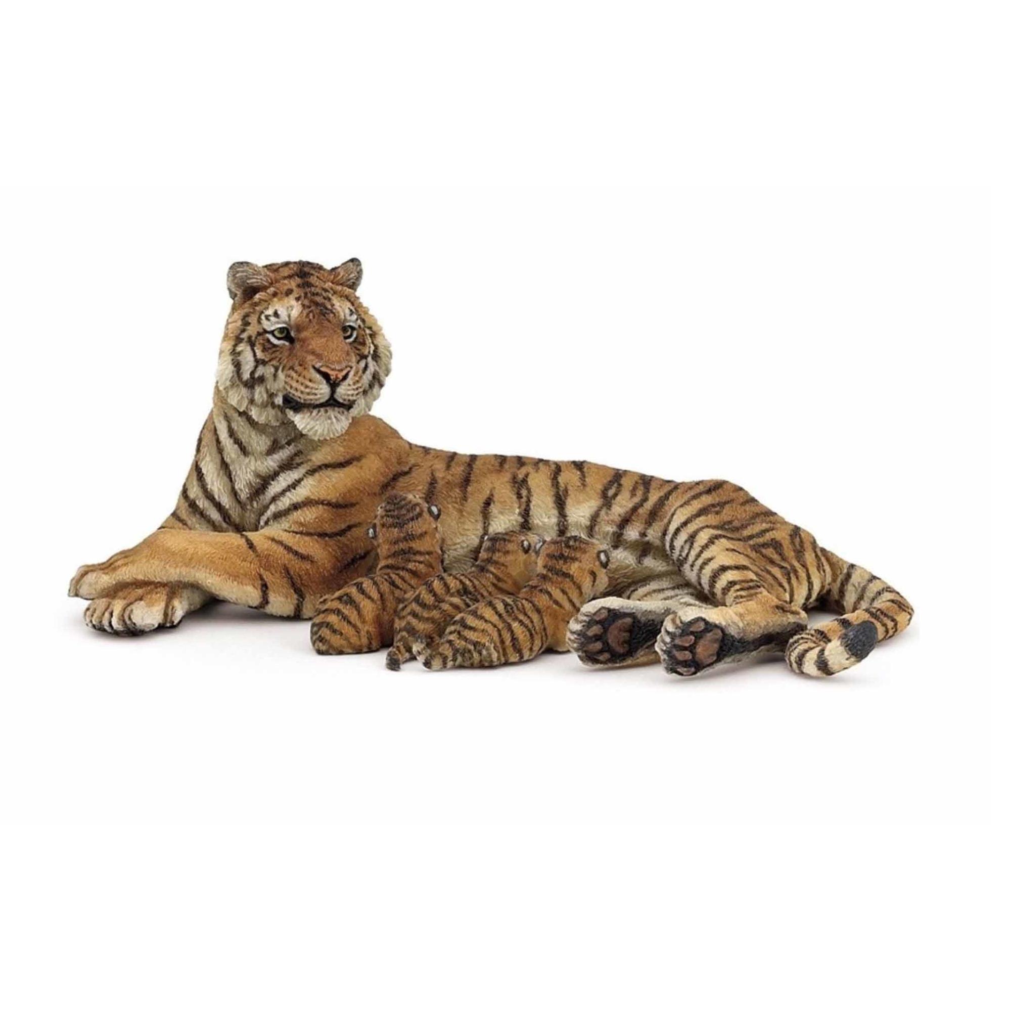 Speelfiguren sets Papo Plastic tijgerin met baby tijgertjes 13 cm