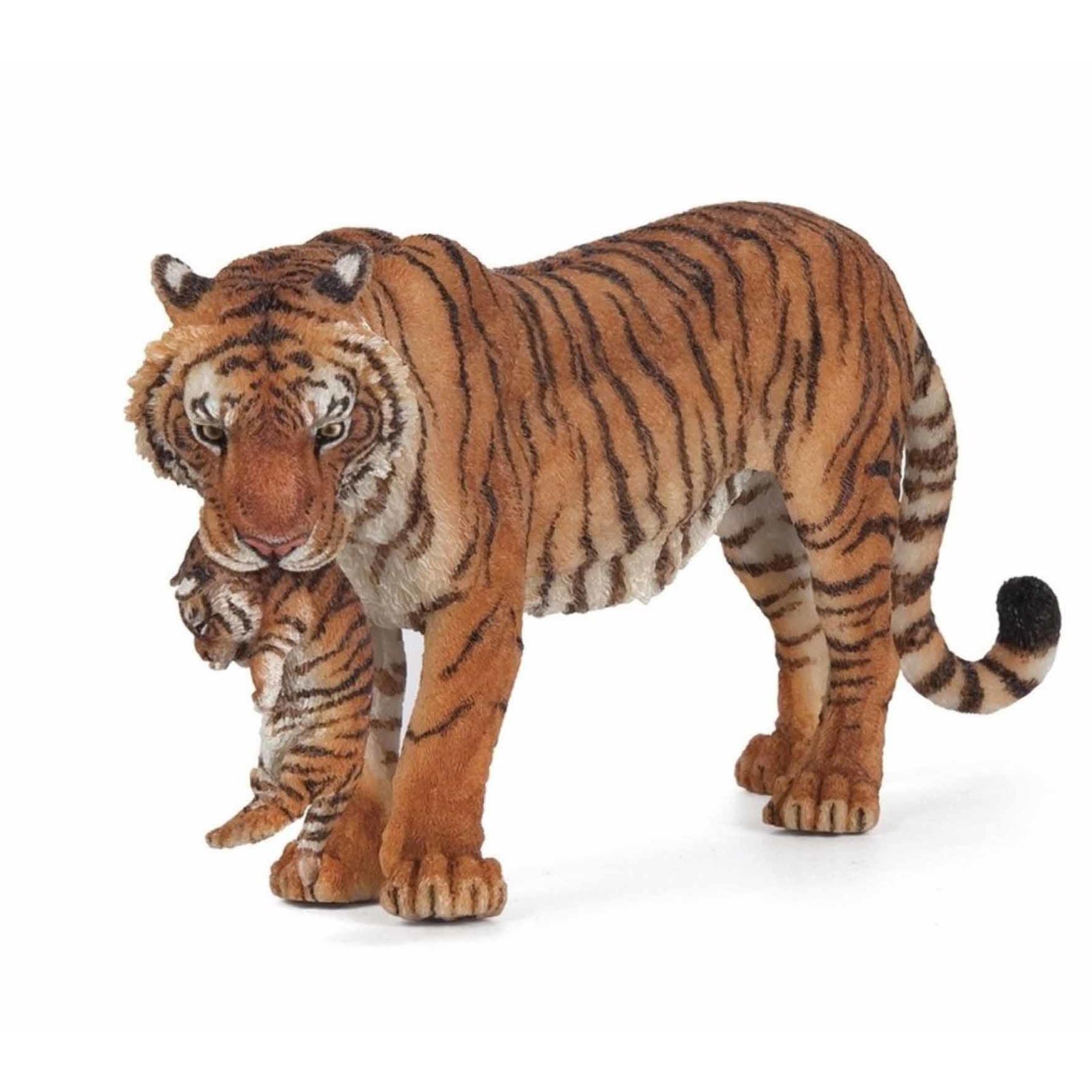 Plastic tijgerin met welpje 14,5 cm Papo nieuw